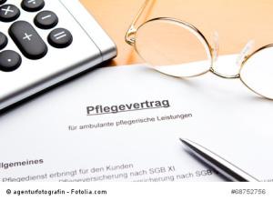 Pflegevertrag Taschenrechner Lese-Brille Stift